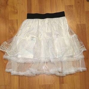 White Lace Layered Skirt